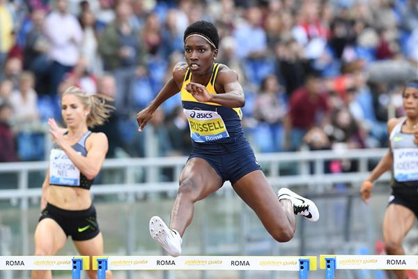 Janeive Russell at the 2016 IAAF Diamond League meeting in Rome (Gladys Chai)