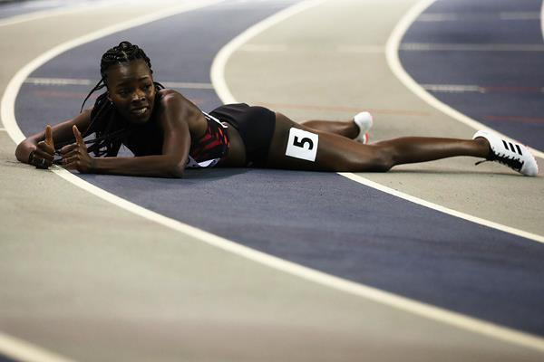 Cynthia Bolingo after her runner-up finish at the 2019 European Indoor Championships (Getty Images)