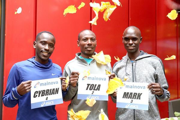 Cyprian Kotut, Tadese Tola and Mark Korir ahead of the 2016 Frankfurt Marathon (Victah Sailer/organisers)