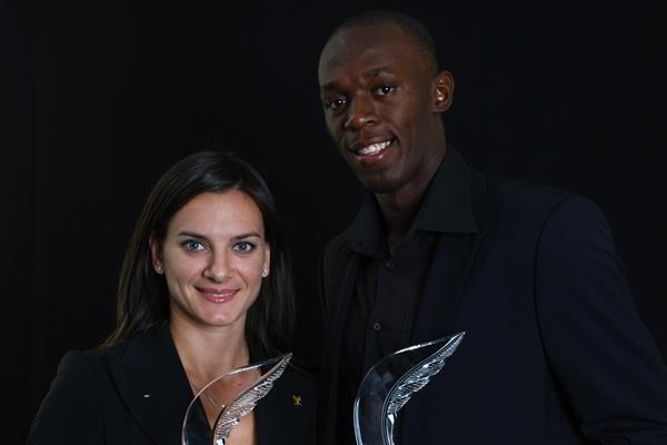 2008 World Athletes of the Year Yelena Isinbayeva and Usain Bolt (Getty Images)