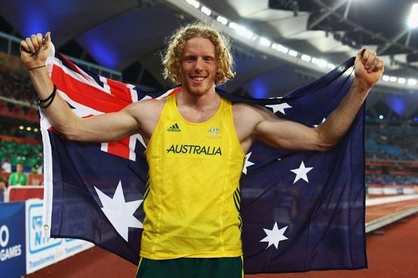 Steven Hooker celebrates winning the Commonwealth Games in New Delhi (Getty Images)