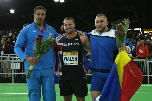 Men's shot put medallists at the IAAF World Indoor Championships Portland 2016 (Getty Images)