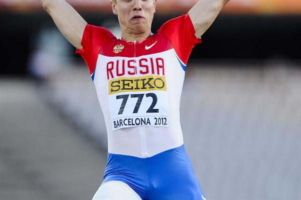 Sergey Morgunov of Russia competes during the Men's Long Jump final on day two of the 14th IAAF World Junior Championships in Barcelona on 11 July 2012 (Getty Images)