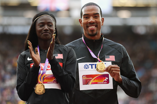 Tori Bowie and Christian Taylor at the IAAF World Championships London 2017 (AFP / Getty Images)