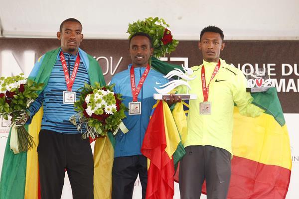 (l-r) Abdela Godana, Fikadu Girma  and Legese Adungna on the men's podium at the 2014 Banque du Liban Beirut Marathon (Organsiers)