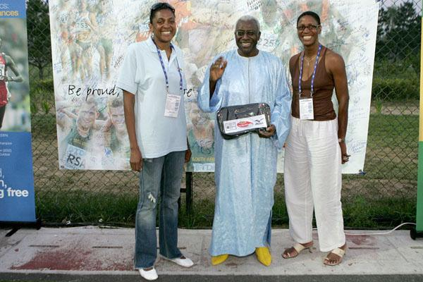 IAAF President Lamine Diack with former Olympic champions Marie-José Pérec and Deon Hemmings-McCatty (Getty Images)