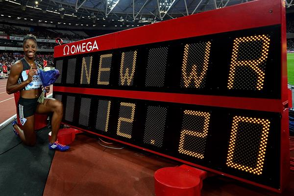 Kendra Harrison and her world record numbers from the London Diamond League (Getty Images)
