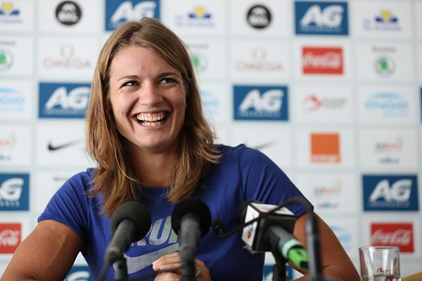 Dafne Schippers at the press conference ahead of the IAAF Diamond League final in Brussels (Giancarlo Colombo)