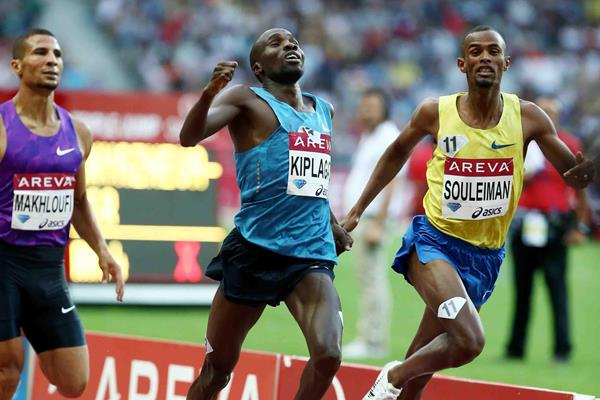 Silas Kiplagat winning the men's 1500m at the 2015 IAAF Diamond League meeting in Paris (Jiro Mochizuki)