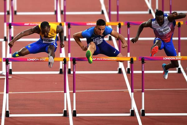Devon Allen (centre) in the 110m hurdles at the IAAF World Championships London 2017 (Getty Images)