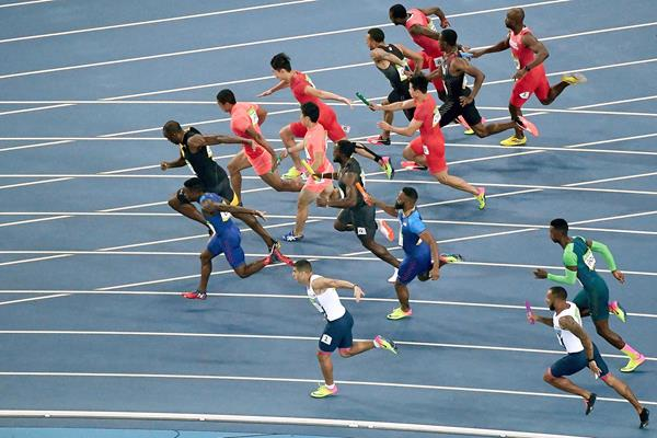 Action from the men's 4x100m at the Olympic Games (Getty Images)