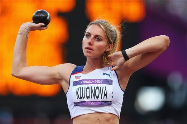 Eliska Klucinova of Czech Republic competes in the Women's Heptathlon Shot Put on Day 7 of the London 2012 Olympic Games at Olympic Stadium on August 3, 2012 (Getty Images)