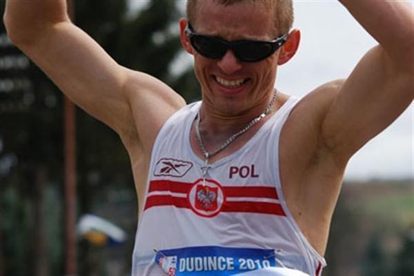 Poland's Rafal Augustyn wins the 50km in the 2010 Race Walking meeting in Dudince, Slovakia (Rastislav Hrbáček)