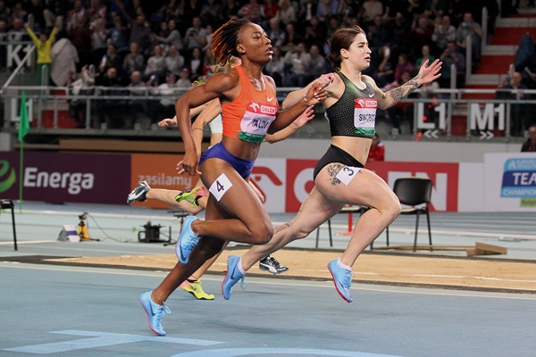 Ewa Swoboda wins the 60m at the IAAF World Indoor Tour meeting in Torun (Jean-Pierre Durand)