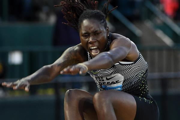 Brittney Reese at the 2016 IAAF Diamond League meeting in Eugene (Kirby Lee)