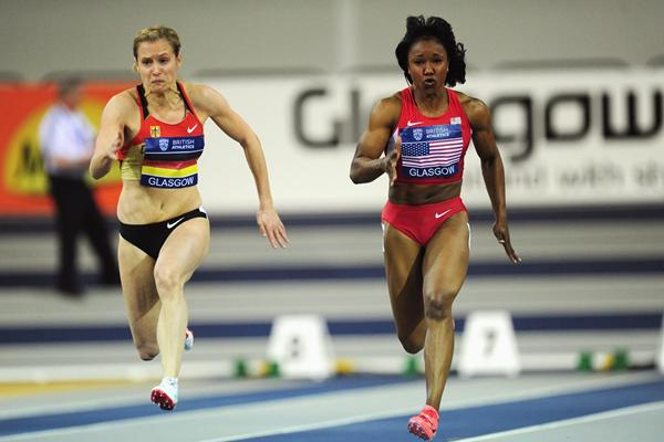 Verena Sailer and Carmelita Jeter in the 60m at Glasgow (Getty Images)