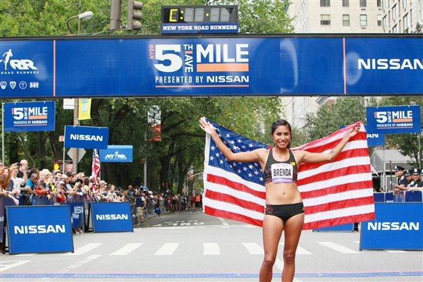 Brenda Martinez after winning the Fifth Avenue Mile (NYRR)