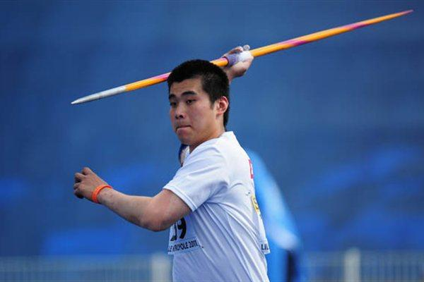 Guisheng  ZHANG of China in action in the Boys Javelin final - Day Five - WYC Lille 2011 (Getty Images)