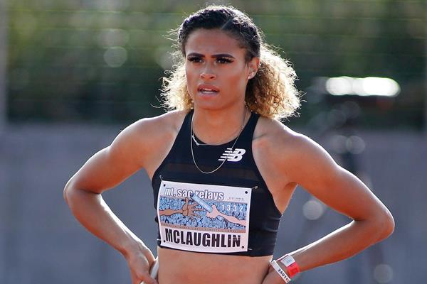 USA's Sydney McLaughlin on the start line (Getty Images)
