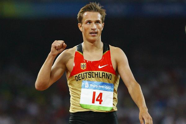 Michael Schrader crosses the line in the 1500m in Beijing (Getty Images)