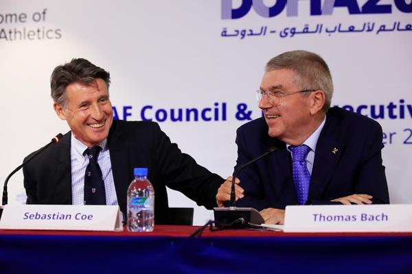 IAAF President Sebastian Coe and IOC President Thomas Bach ahead of ther IAAF World Athletics Championships Doha 2019 (Getty Images)