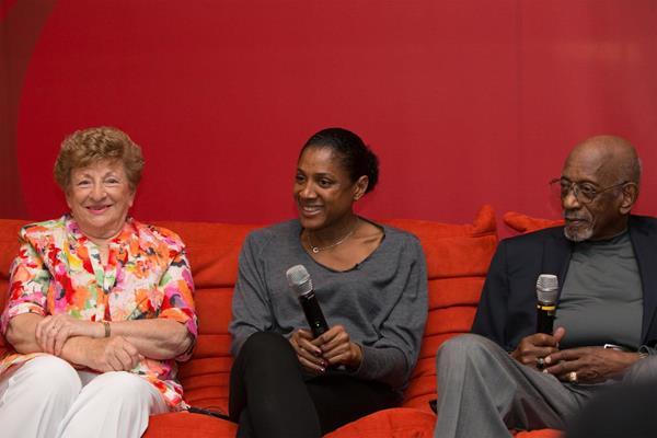 Marjorie Jackson, Marie Jose-Perec and Harrison Dillard talk to the press in Monaco (Philippe Fitte)