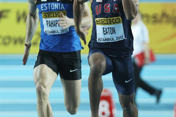 Ashton Eaton of the United States (R) and Mikk Pahapill of Estonia compete in the Men's 60 Metres in the Heptathlon during day one - WIC Istanbul (Getty Images)