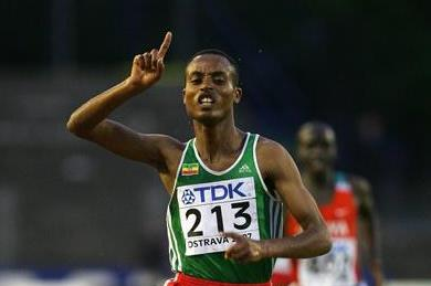 Legese Lamiso of Ethiopia wins the 2000m Steepechase final (Getty Images)