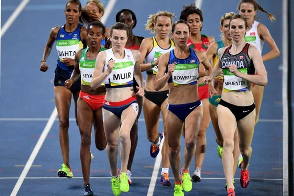 Laura Muir, Shannon Rowbury and Nicole Sifuentes in the 1500m at the Rio 2016 Olympic Games (Getty Images)