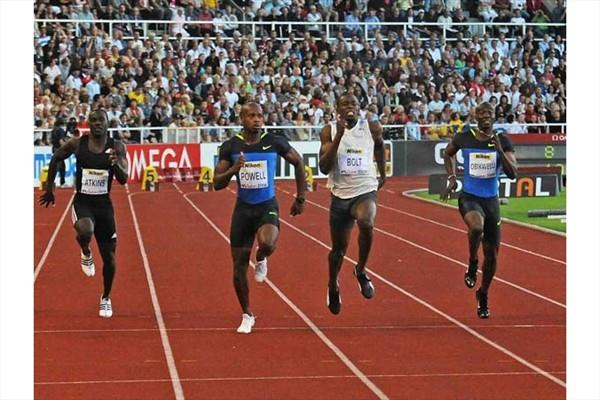 Asafa Powell and Usain Bolt in Stockholm 2008, Bolt's last defeat (Hasse Sjögren)