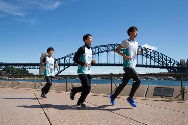 Tomohiro Tanigawa, Keisuke Kusaka and Sohta Hoshi of Japan at the Sydney Harbour Bridge (Craig Golding/organisers)