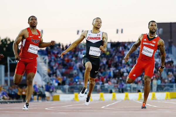 Andre De Grasse wins the 100m at the Pan American Games (Getty Images)