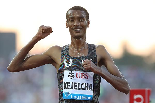 Yomif Kejelcha prevails in the 5000m at the IAAF Diamond League meeting in Lausanne (Giancarlo Colombo)