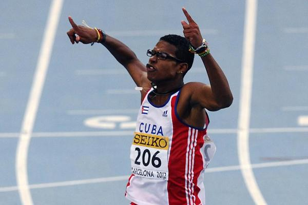 Yordan L. O'Farrill of Cuba wins the Men's 110m Hurdles on the day three of the 14th IAAF World Junior Championships in Barcelona 2012 (Getty Images)