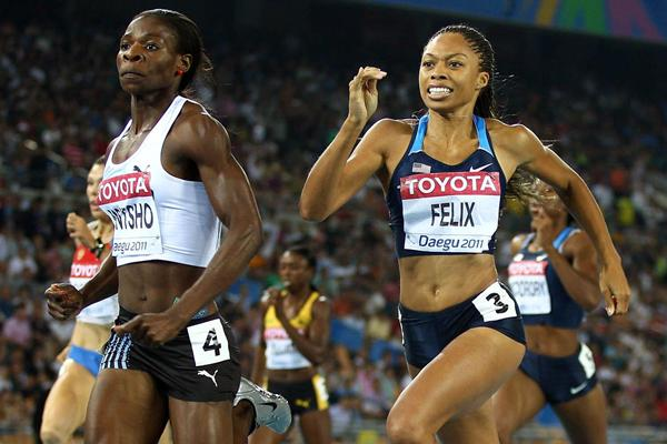Allyson Felix desperately chasing down Amantle Montsho in the final of the 400m  (Getty Images)