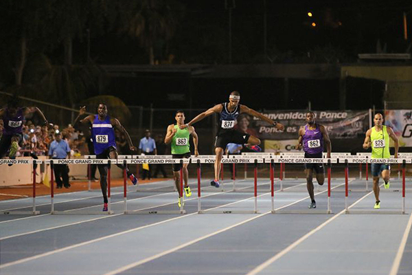 Javier Culson leads the 400m hurdles from eventual winner Jeffery Gibson (far left) (Organisers)