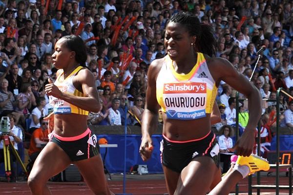 Christine Ohuruogu winning the 400m at the 2013 IAAF Diamond League meeting in Birmingham (Mark Shearman)