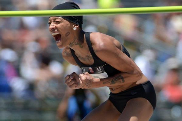 Inika McPherson celebrates her 2.00m clearance to win the US high jump title (Kirby Lee)