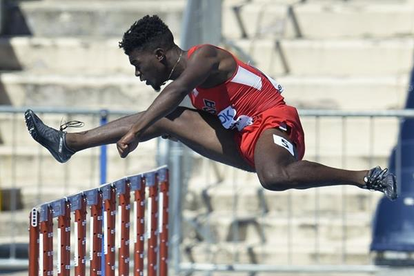 Marcus Krah of the US competes in the opening round of the 110m hurdles at the IAAF World U20 Championships Bydgoszcz 2016 (Getty Images)