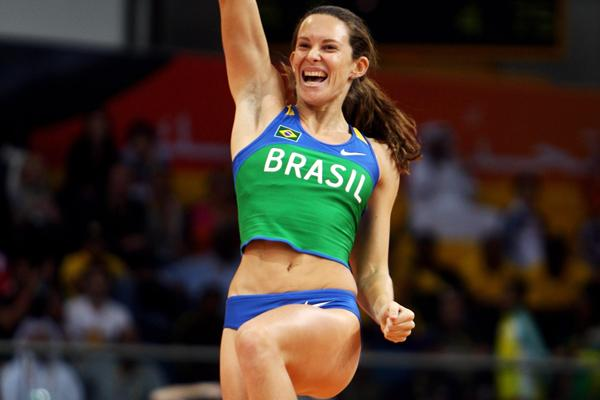 Fabiana Murer of Brazil celebrates her victory in the women's Pole Vault in Doha (Getty Images)