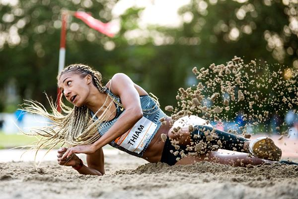 Belgian heptathlete Nafissatou Thiam in action in the long jump (AFP / Getty Images)