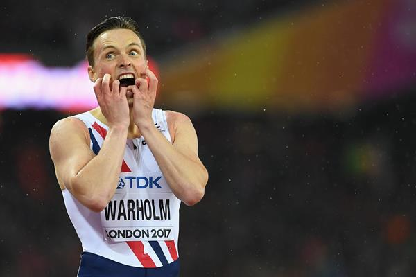 Karsten Warholm reacts after winning the 400m world title (Getty Images)
