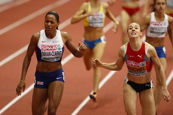 Close! Selena Buchel (r) edges Shelayna Oskan-Clarke by .01 to win the European indoor 800m title in Belgrade (Getty Images)