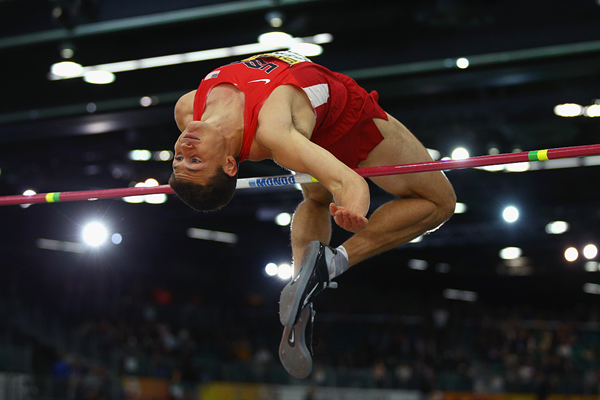 Curtis Beach in the heptathlon high jump at the IAAF World Indoor Championships Portland 2016 (Getty Images)