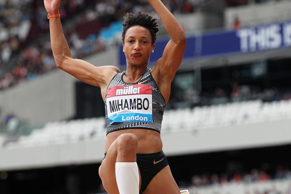 Malaika Mihambo flies to a 7.02m leap in the long jump at the IAAF Diamond League meeting in London (Jean-Pierre Durand)
