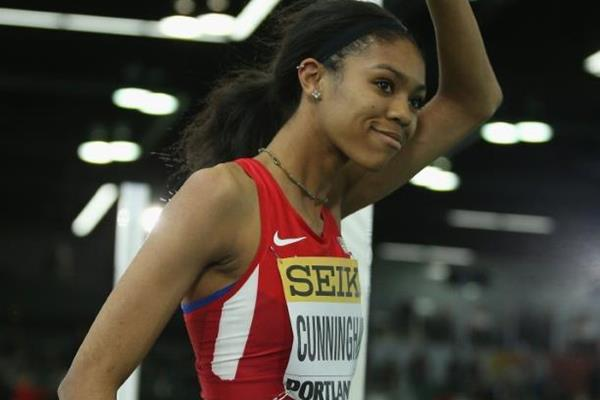 High jump winner Vashti Cunningham at the IAAF World Indoor Championships Portland 2016 (Getty Images)