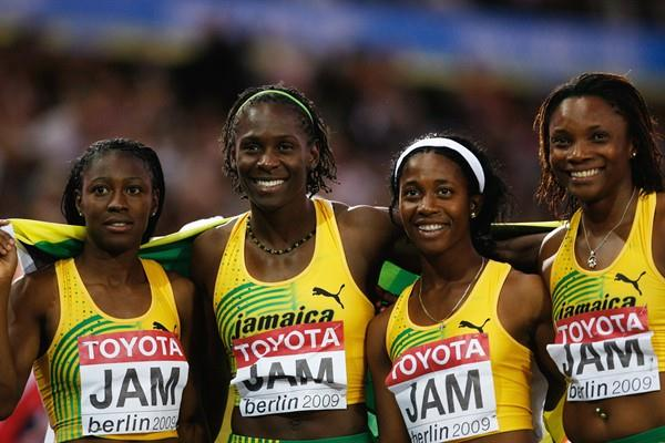 The Jamaican women's 4x100m of Simone Facey, Kerron Stewart, Shelly-Ann Fraser and Aleen Bailey celebrate winning the gold medal at the IAAF World Championships in Berlin (Getty Images)