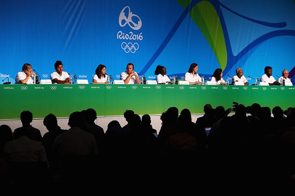The Refugee Olympic Team at a press conference in Rio ahead of the Olympic Games (Getty Images)