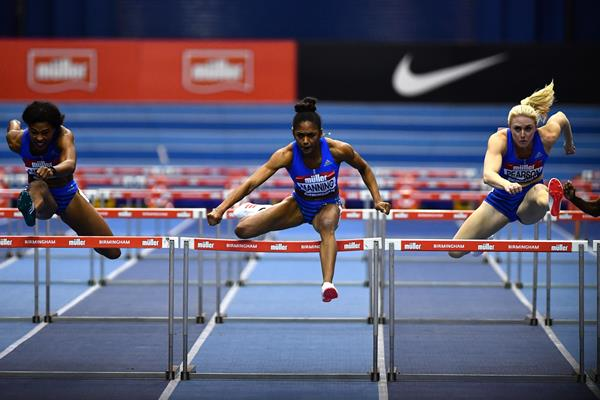 Christina Manning en route to her 60m hurdles victory at the Muller Indoor Grand Prix in Birmingham (Getty Images)