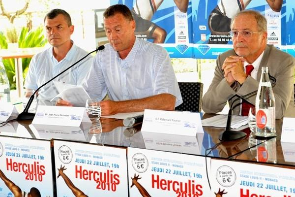 Herculis Press Conference - (left to right): Nick Davies, Jean-Pierre Schoebel and Bernard Fautrier (Herculis 2010)